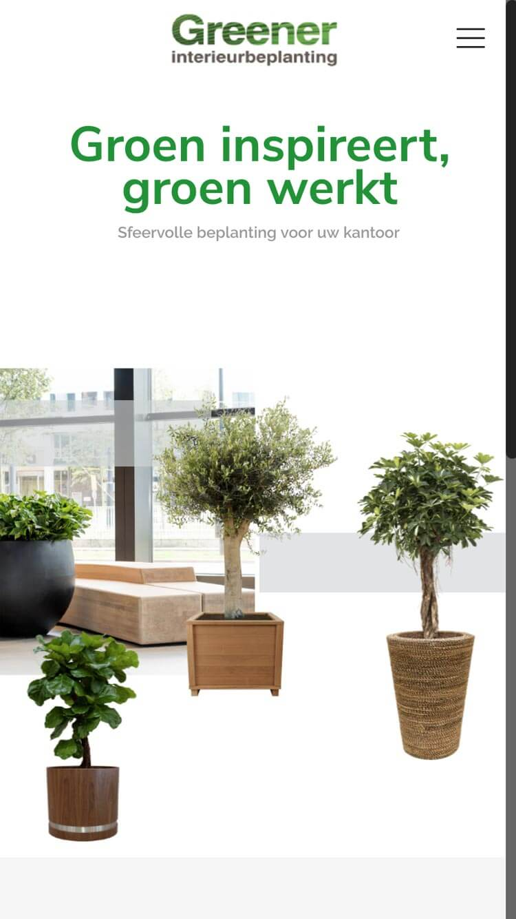 Greener Interieurbeplanting mobiele website