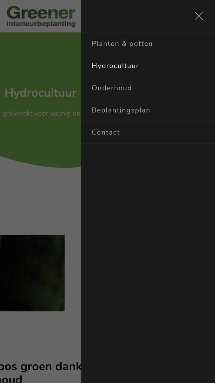 Greener Interieurbeplanting mobile menu